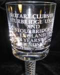 Close-up of engraving on Goblet - gift from Stourbridge - 2012.