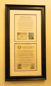 A framed history of Stourbridge, UK (top) and a history of the Rotary Clubs Twinning (bottom).