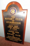 Close-up of Twinning Plaque gifted to Sturbridge in 1994.