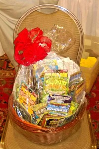 Lottery basket waiting for the winner to be chosen.