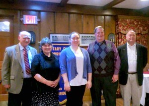 L to R:  President-Elect Austin Jenkins, Cheryl Hackenson, Katherine Commans, Principal Mark Wood, Rotarian Peter Zeh