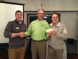 L to R:  Zac Broomfield, President Otto, Rotarian Scott Peckins from Camp Day.