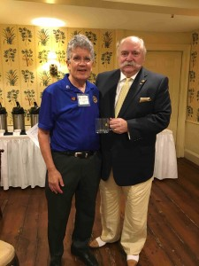 Dr. Sandler being presented a Sturbridge Rotary mug by President Dave.
