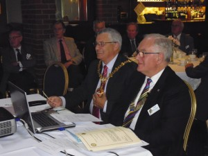 Mayor David Tyler (L) and Stourbridge Rotary Club President Dr. Tony Blackman.